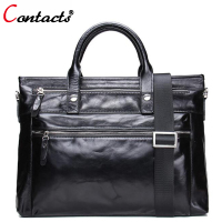 CONTACT'S Genuine Leather Shoulder Bag Men Messenger Bags Male purses and Handbag Black Laptop Briefcase Crossbody Tote Bag Big