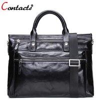 CONTACT'S натуральная кожа сумка Для мужчин Курьерские сумки мужские кошельки и сумки черный ноутбук Портфели Crossbody сумка большой
