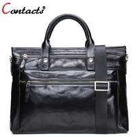 CONTACT'S Genuine Leather Shoulder Bag Men Messenger Bags Male purses and Handbag Black Laptop Briefcase Crossbody Tote Bag Big