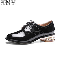 XiuNingYan Women Patent Leather Flats Shoes Lace Up Loafers Handmade Beads Ofords Shoes Silver Black Casual