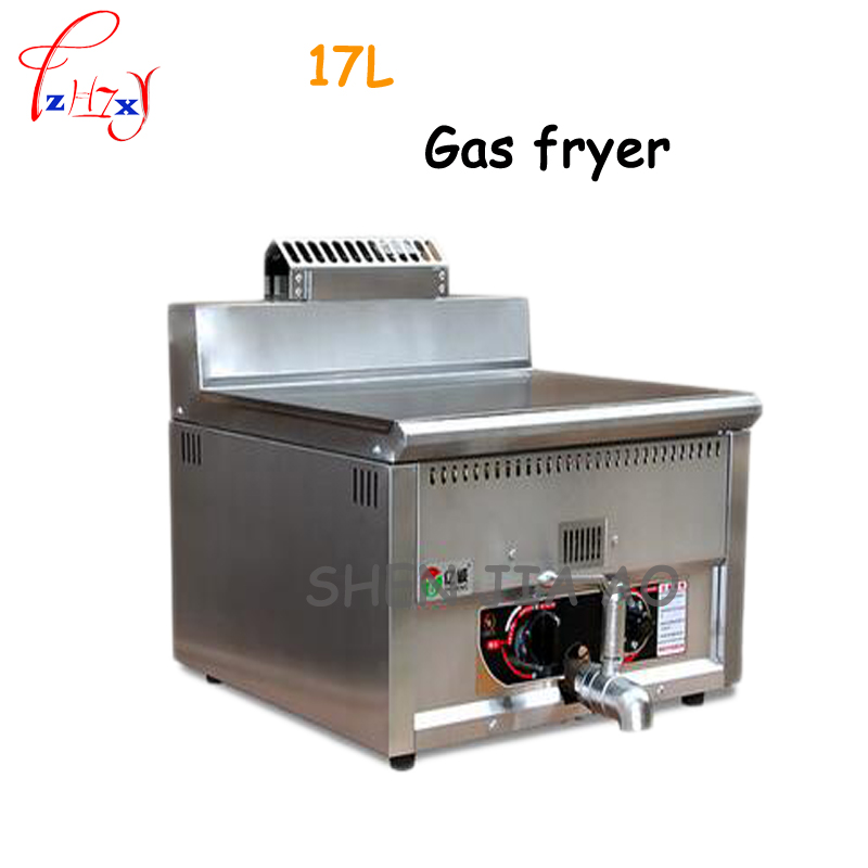 17L high capacity commercial gas  fryer stainless steel frying pan temperature control fryer gas fried chicken machine 1pc fast food leisure fast food equipment stainless steel gas fryer 3l spanish churro maker machine