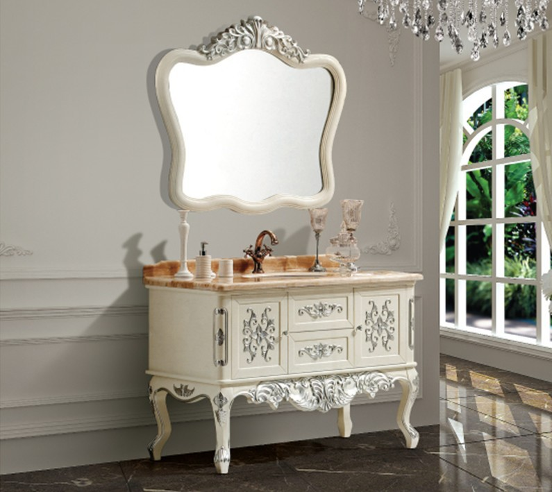 fashion antique bathroom cabinet with mirror and basin 24496