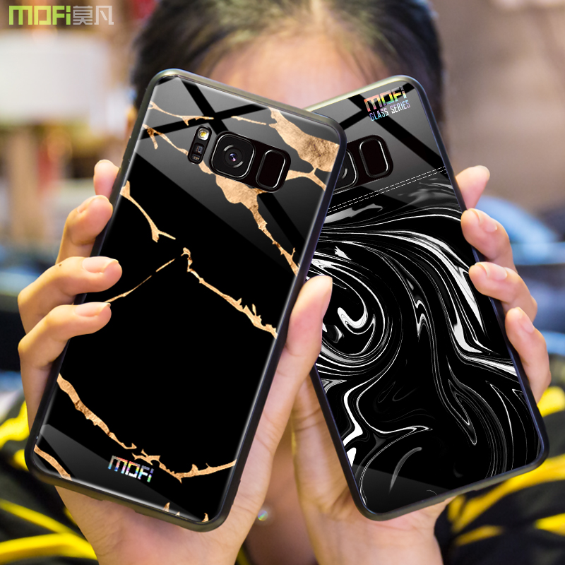 For samsung s8 plus case Mofi for samsung s8 case glass hard case for samsung s8 marble grain black for galaxy s8 plus cover