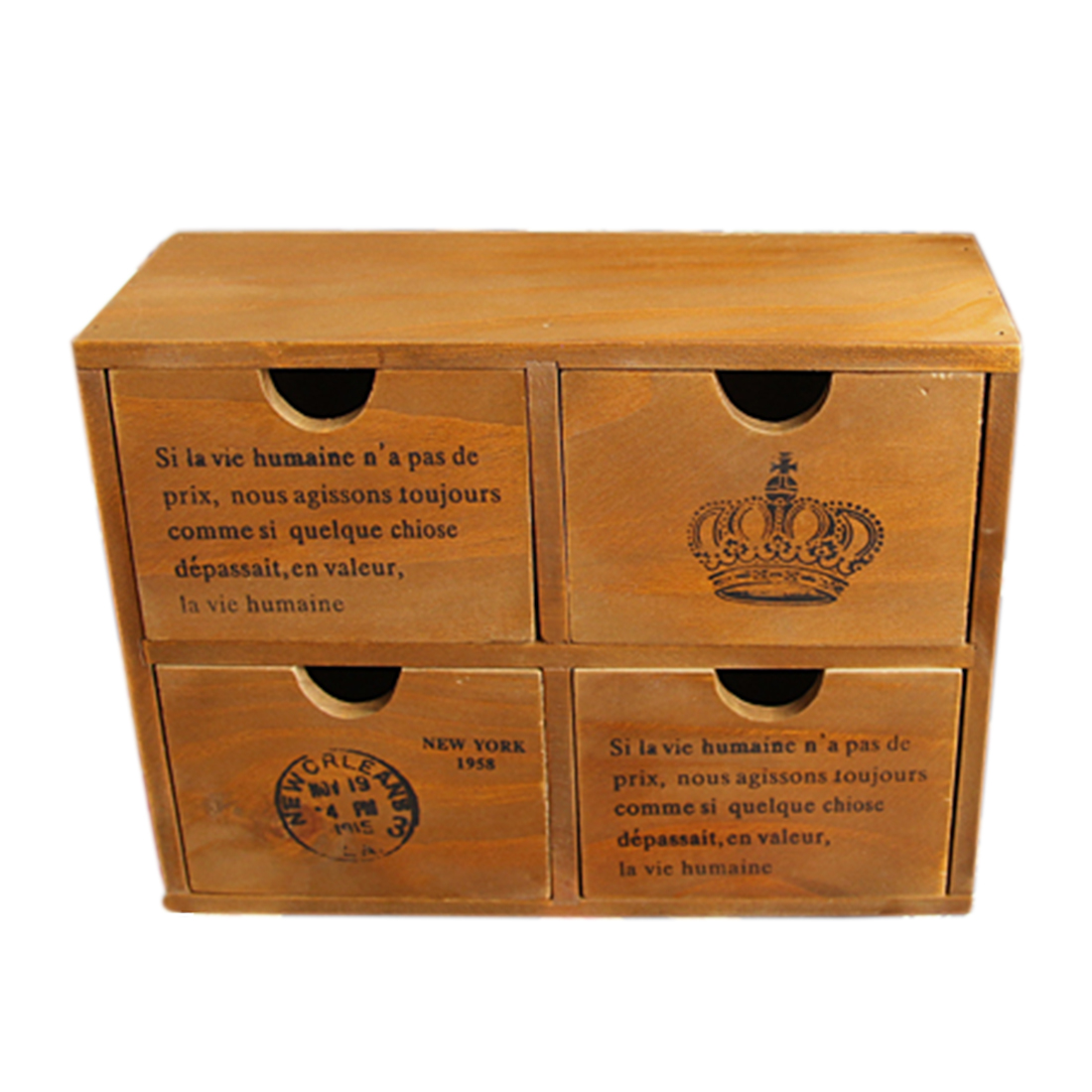 Zakka Household 4-Drawer wooden chest Storage Box Cabinet Jewelry Organizer New Zealand Pine