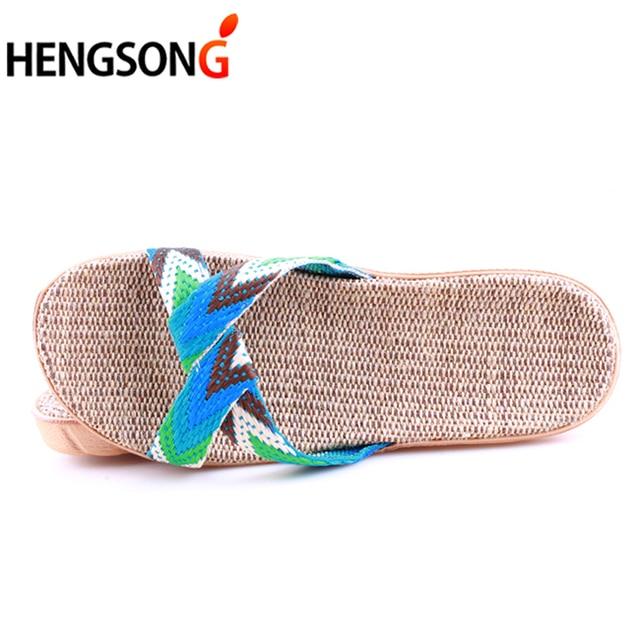 Summer Cross Belt Slippers Women Chain Slides Home Floor Shoes Flax Cross Belt Silent Sweat Slippers Female Sandals 5