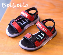 Belbello Boys Sandals Children LED Shoes Kid Flats Beach Shoes Summer Loop Mesh Fashion Casual Cool Thick Soft Sole Light Shoes