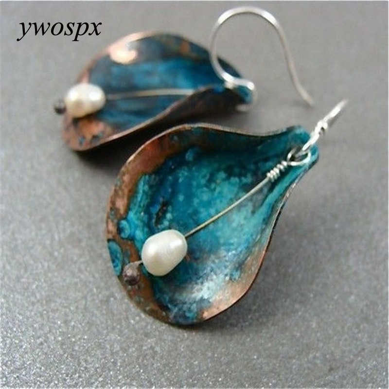 YWOSPX Vintage Imitation Pearl Dangle Earrings for Women Jewelry Engagement Brincos Wedding Statement Dro Earings Y40
