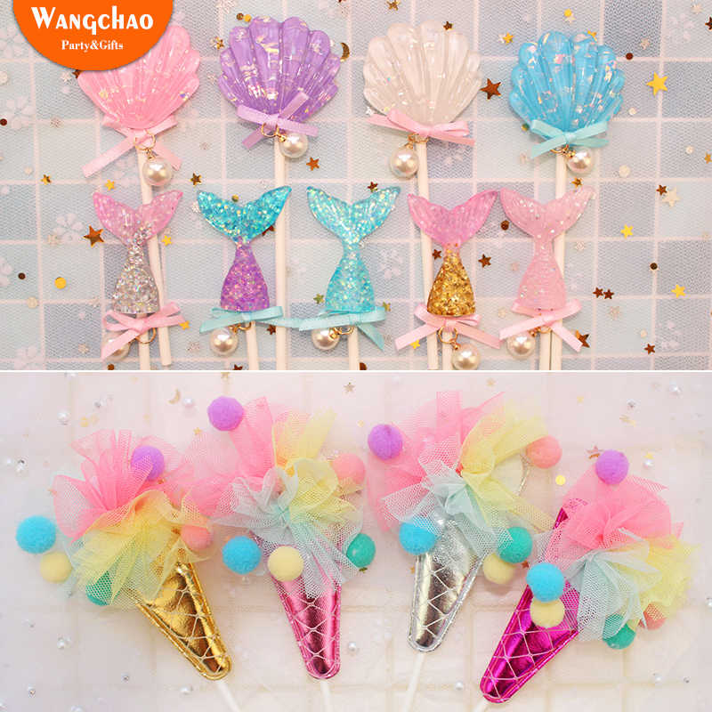 Glittering Mermaid Shells Ocean Ice Cream Theme Happy Birthday Party Supplies Beauty Cake Topper Decorations Kids Cupcake