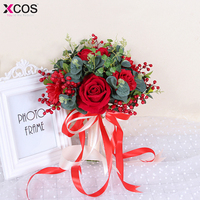 New Red White Wedding Bouquet Handmade Artificial Flower Rose buque casamento Bridal Bouquet for Wedding Decoration 2018
