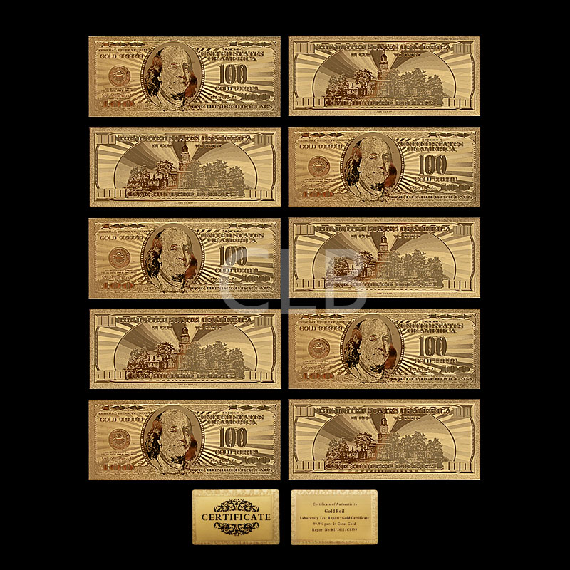 Wholesale Gold Plated Gold Banknote Collection Certificate The Gold ...
