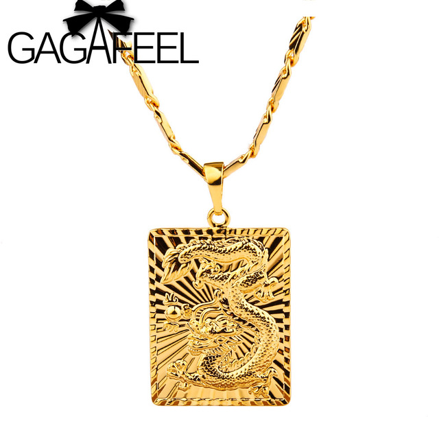 Wholesale Super deal New arrival fashion vacuum plated 24K gold 60CM Men's necklace with dargon pendant! Free Shipping JXL007