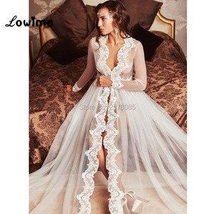 Image 4 - 2018 New Design Wedding Accessories Women Tulle See Through Bridal Bolero Custom Made Cape Dress Bolero Mariage Bolero Jacket