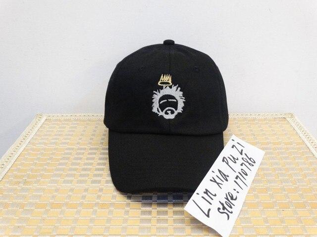 dfc0cc00fd7f2 Personalizado Unstructured blanco y negro Dad Hat Cap J Cole TDE nuevo Born  Sinner corona gorra