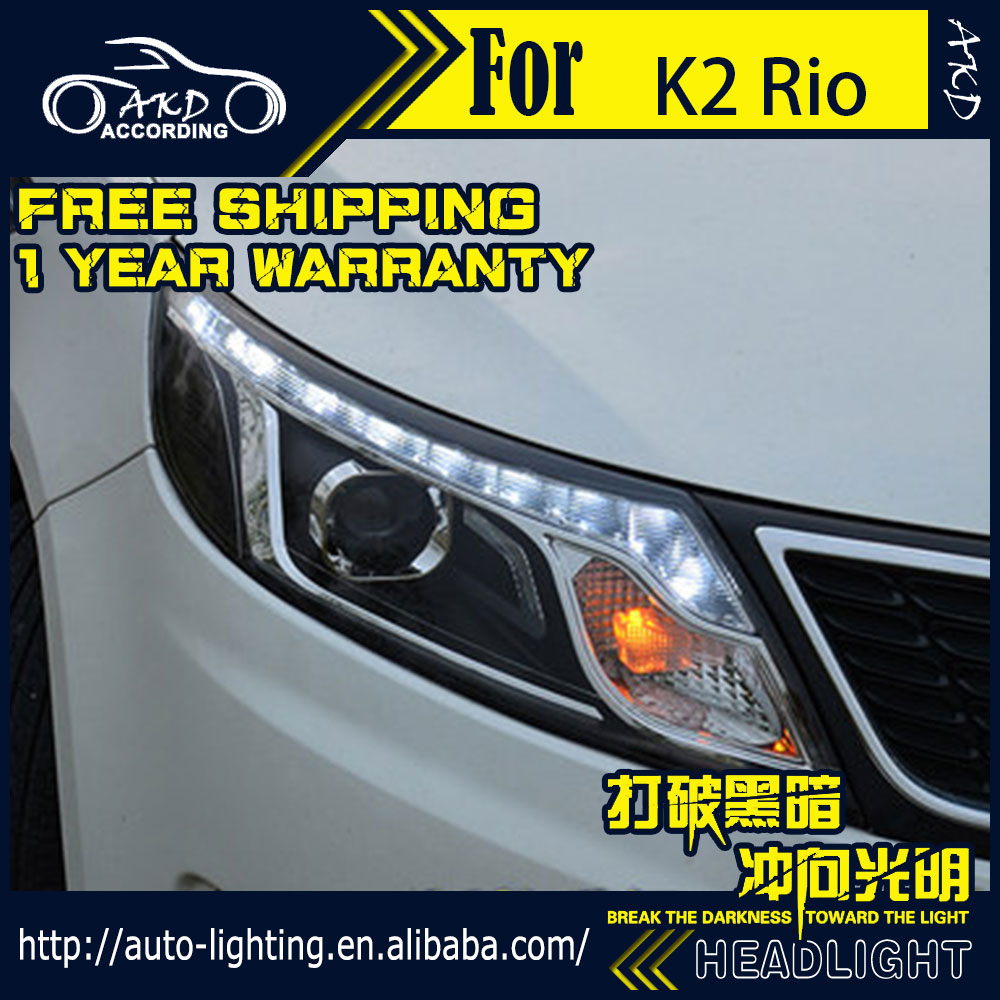 AKD Car Styling Head Lamp for Kia K2 Headlights 2011-2014 Rio LED Headlight LED DRL H7 D2H Hid Option Angel Eye Bi Xenon Beam akd car styling led drl for kia k2 2012 2014 new rio eye brow light led external lamp signal parking accessories