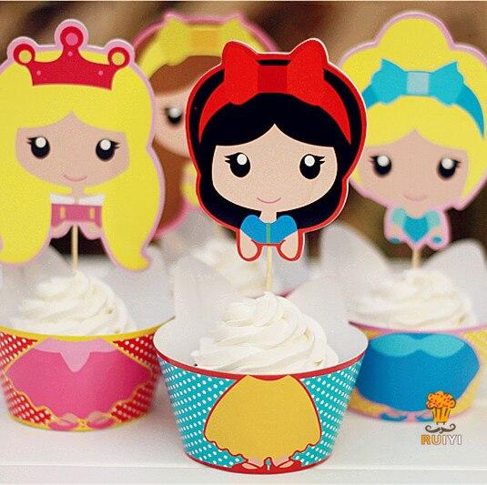24 piezas nieve blanca Cenicienta princesa cupcakes envoltorio toppers niños cumpleaños fiesta suministros cupcakes casos cupcakes liner AW-0048