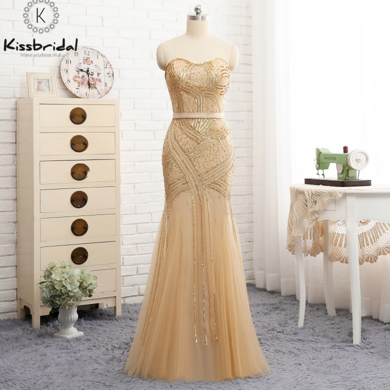 abendkleider 2018 Stunning Elegant Mermaid   Evening     Dresses   Long Scoop Neck Beading Tulle Prom Party   Dress