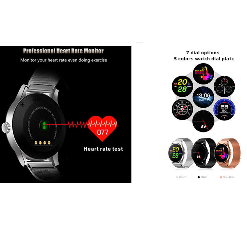 K88H wearable devices mobile watch smart watch men stainless steel stra smartwatch android pulseira inteligente