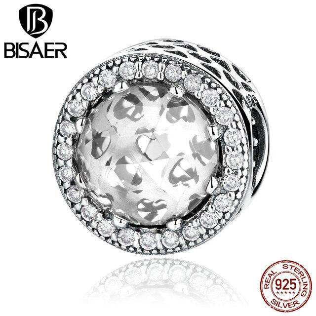 3 couleur en gros 925 en argent Sterling classique forme ronde breloques à assembler soi-même ajustement BISAER femmes Bracelets bijoux de mode WEUS339