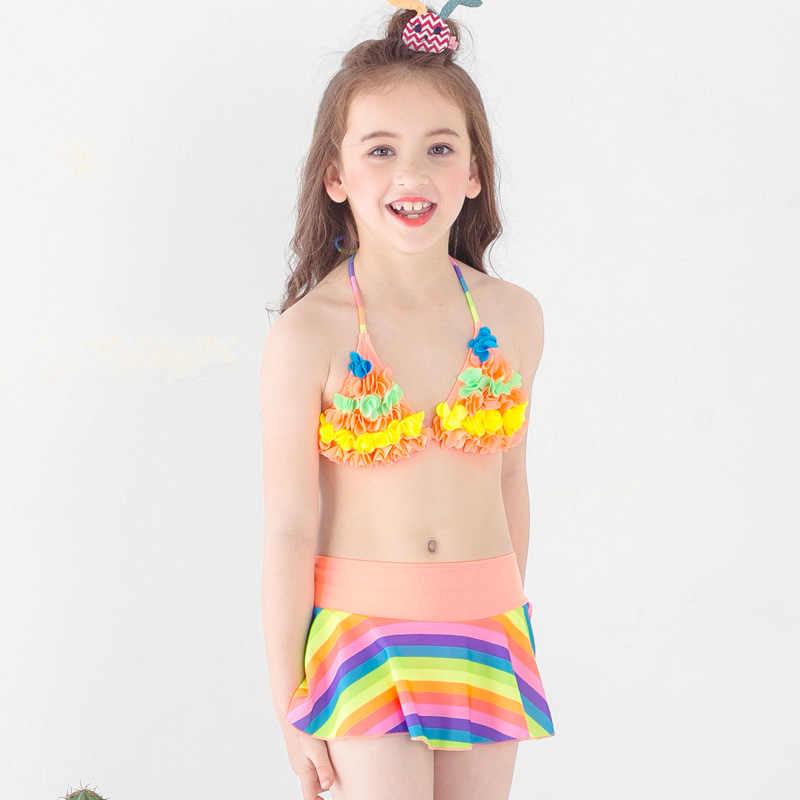 Girl 3 Pcs Set Bikini Girl Split Swimsuit Kids Rainbow Strip Swimwear With Skirt Children Girls Beach Clothing Kid Bathing Suits| |   - AliExpress