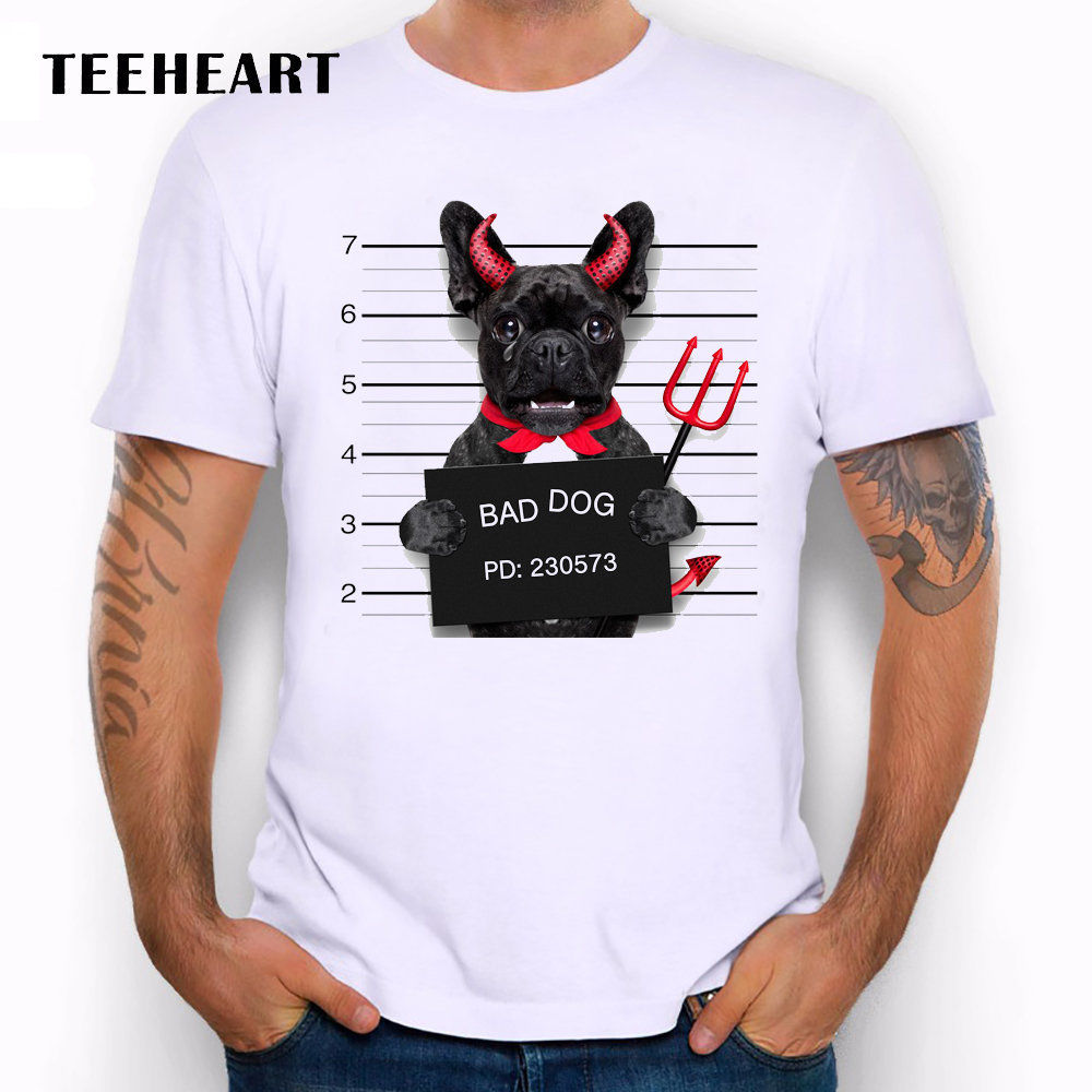 Wanted Bad Dogs Mugshot French Bulldog Devil Funny Joke Men T Shirt Tee