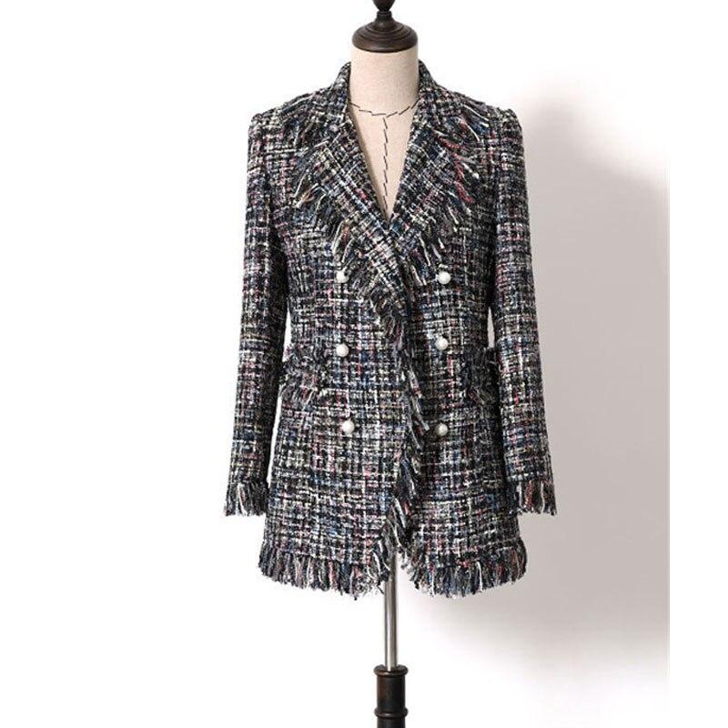 Laine Manteaux D'hiver Femmes Mode Designer Col Cranté Vintage Gland Plaid Tweed De Laine Vestes Élégant Dame Mince Pardessus