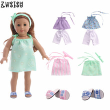 Fashion new 4pcs doll clothes + shoes for 18-inch American  doll and 43cm baby doll accessories children's Christmas gifts