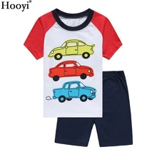 Hooyi Summer Boys Pajamas Suits Children Clothes 2-Pieces Sets Kids Sleepwear Baby Pijamas T-Shirt Shorts Clothing 100% Cotton