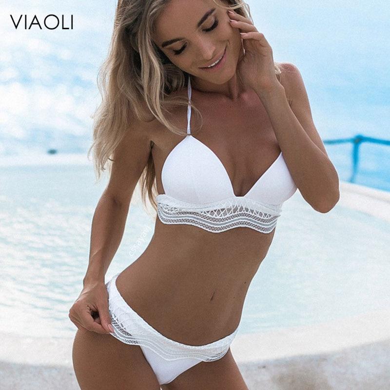 VIAOLI 2018 Sexy Lace Bikini Top  White Swimwear Women Solid Push Up Bikini Set Beachwear Bathing Suit Brazilian Femme Biquini
