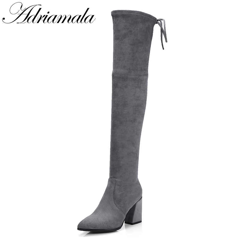 2017 Stretch Woman High Heel Leather Over The Knee Boots Slip-on Autumn Fashion Pointed Toe Womens Thigh High Boots Adriamala