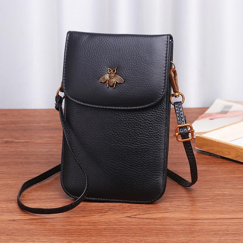 Genuine Leather Women Mobile Phone Bags Fashion Small Change Purse Female Woven Buckle Shoulder Bags Mini Messenger Bag Black