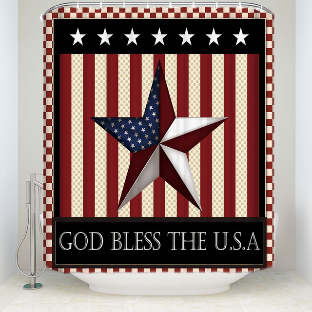American Flag Bless The United States Shower Curtain Waterproof Polyester Fabric Bathroom Decor Printed