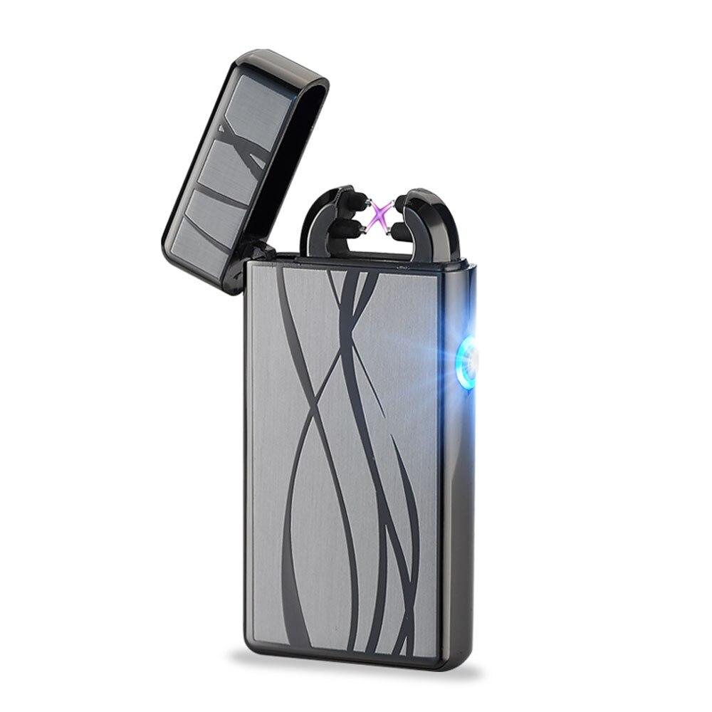 Metal Windproof Cigarette Lighter Electric Pulse Double Arc Lighter Electric Plasma USB Charging Cigar Smoking Lighter