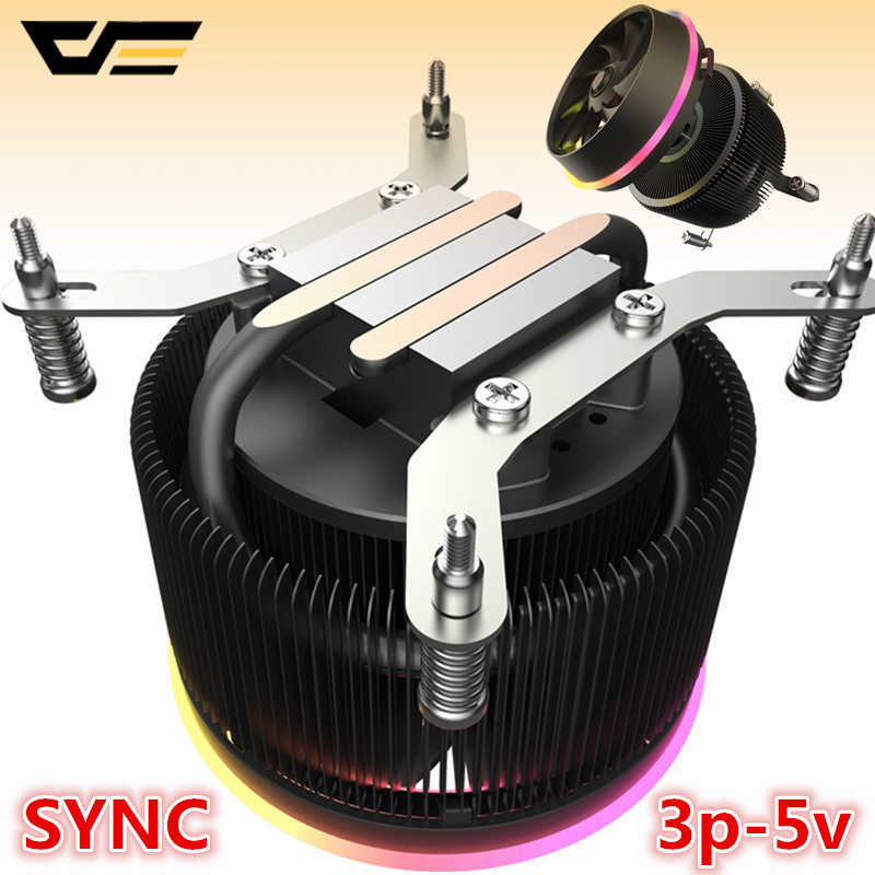 Aigo darkflash cpu cooler aura sync 3 p-5 v tdp 280 w pwm 4pin led rgb ventilador controle de refrigeração para intel am2/am3/am4/2011/lga