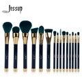 Jessup 15 pcs makeup brushes set pó fundação ferramenta pincel sombra delineador lip contour concealer mancha azul/verde escuro