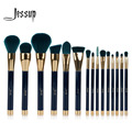 Jessup 15 unids pinceles de maquillaje polvos sombra de ojos delineador de labios contour corrector cepillo mancha herramienta azul/verde oscuro
