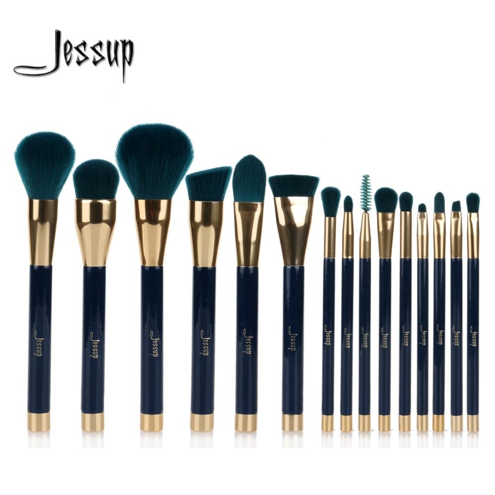 Jessup 15pcs Makeup Brushes Set Powder Foundation Eyeshadow Eyeliner Lip Contour Concealer Smudge Brush Tool Blue/Darkgreen jessup brushes 15pcs makeup brushes set cosmetics brushes eyeshadow concealer eyeliner lip brush tool t092