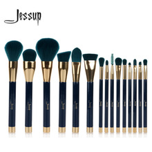 Jessup 15pcs Makeup Brushes Set Powder Foundation Eyeshadow Eyeliner Lip Contour Concealer Smudge Brush Tool Blue/Darkgreen