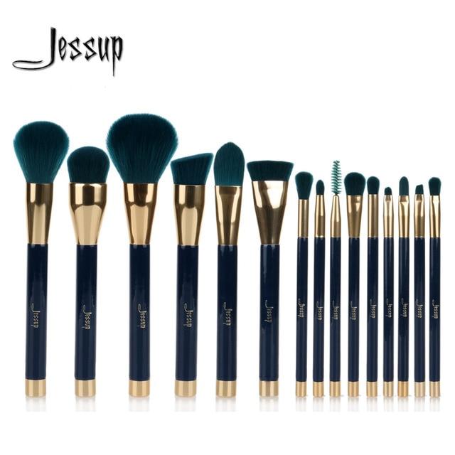 Jessup 15pcs Makeup Brushes Set Powder Foundation Eyeshadow Eyeliner Lip Contour Concealer Smudge Brush Tool Blue/Darkgreen
