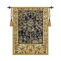 William Morris Tree Of Life Blue Extra Large Art Tapestry Wall Hanging Home Decorative Textile Aubusson