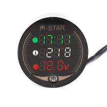 купить Motorcycle Voltmeter Night Vision 3-in-1 Mileage Temperature Voltage Computer LED Panel Digital Voltmeter Motorbike Accessorise по цене 974.13 рублей