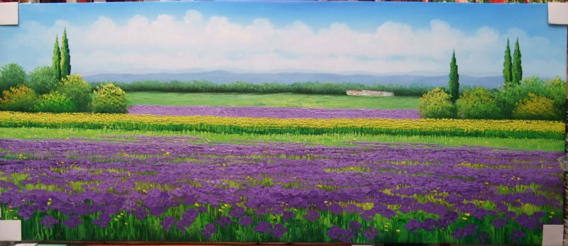 Hand Painted Canvas Painting Beautifulr Wall Painting Flower Lavender Field Scenery Wall Art Picture for Living Room