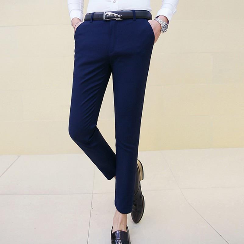 Man Plus Size Ankle Length Suit Pants Male Slim Fit Casual Elastic Solid Color Skinny Dress ...