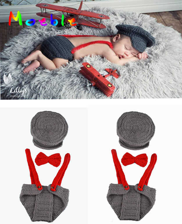 Handmade Knot Beanie+Tie+Shorts Set Toddler Baby Crochet Photography Props  0-12M Newborn Baby Crochet Photo Props 1pc MZS-15039