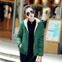 Women winter jacket hooded parka zipper