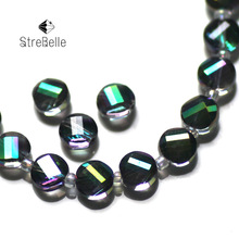 цены 2015 new Fashion malachite green twisted button shape beads semi-crystal glass create your style 48faces