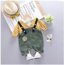 2019 Autumn Baby Infant Clothing Suits Toddler boy Clothes Sets Striped T Shirt Bib Pants Kids Children Costume Suit db7330 dave bella summer baby boy s striped clothing sets children infant toddler suit kid s high quality clothes