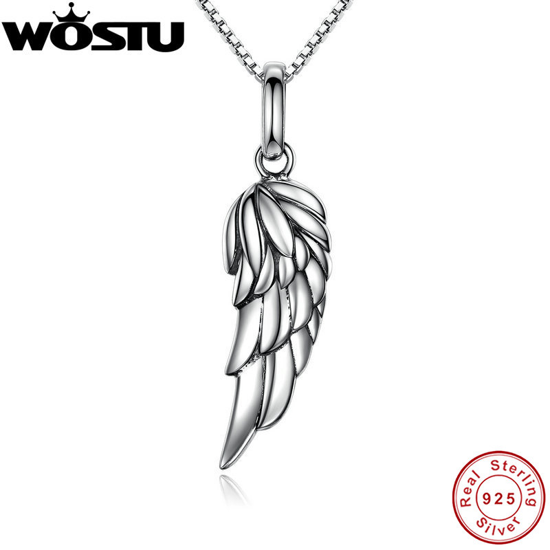 2017 Brand New 925 Sterling Silver Angel Wing Feather Pendant Necklaces for Women Girls Jewelry Gift For Friends CQN026 linsion angel bird wing feather 2 side solid 925 sterling silver charms pendant 8a008