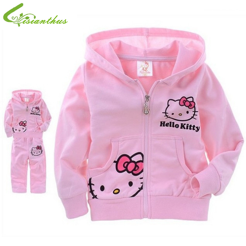 Hello Kitty Set for Girls Baby Carton Suit Children Long Sleeve Clothing Set Spring Autumn Cotton Hoodies Pants Free Shipping new 2017 autumn baby kids set velvet hello kitty cartoon t shirt hoodies pant twinset long sleeve velour children clothing sets