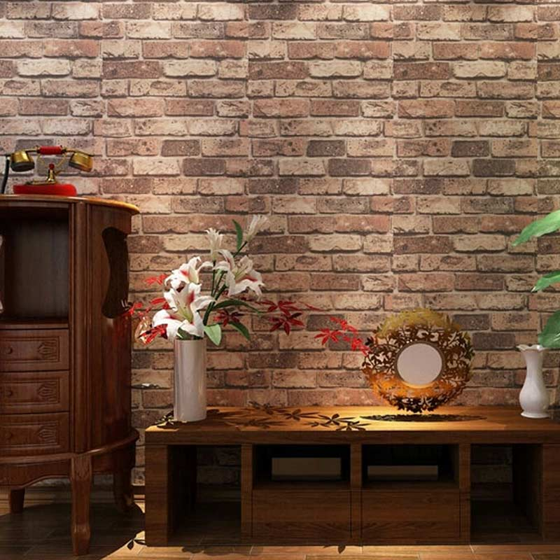 Chinese Style 3D Wall Brick Red Wallpaper Living Room Study Background Wall Decor PVC Waterproof Thicken Stone Wallpaper Roll 3D Herbal Products cb5feb1b7314637725a2e7: Dark Grey|Red