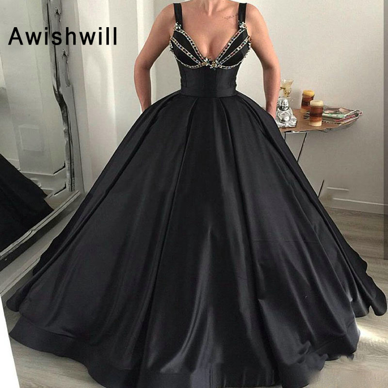 New Design Black Ball Gown   Prom     Dress   Spaghetti Strap Rhinestone Evening Formal   Dress   Floor Length Satin Robe de soiree